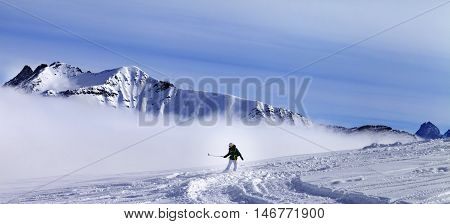 Panoramic View On Snowboarder Downhill On Off-piste Slope With Newly-fallen Snow