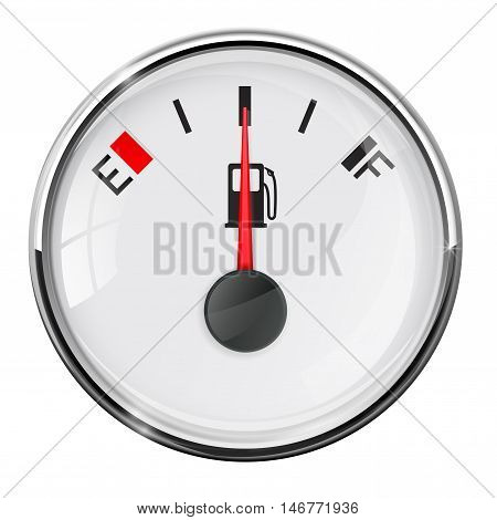 Fuel gauge. Half tank. With chrome frame. Vector illustration on white background