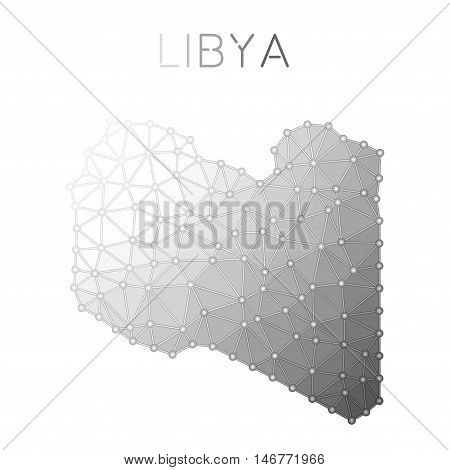 Libya Polygonal Vector Map. Molecular Structure Country Map Design. Network Connections Polygonal Li