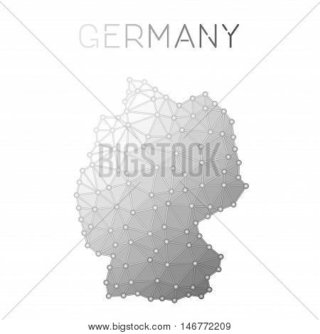 Germany Polygonal Vector Map. Molecular Structure Country Map Design. Network Connections Polygonal