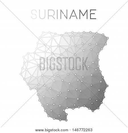 Suriname Polygonal Vector Map. Molecular Structure Country Map Design. Network Connections Polygonal