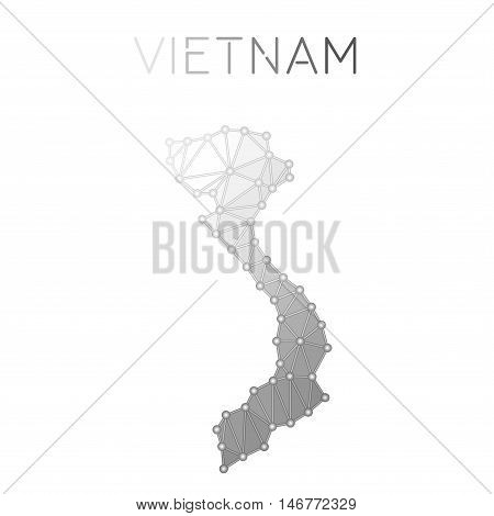 Vietnam Polygonal Vector Map. Molecular Structure Country Map Design. Network Connections Polygonal
