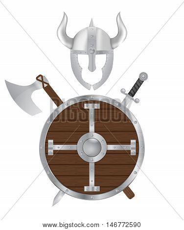 Viking weapon set. Shield sword axe helmet. Vector illustration isolated on white background