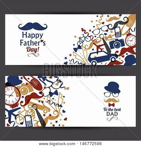 Happy Fathers Day Banners Set.