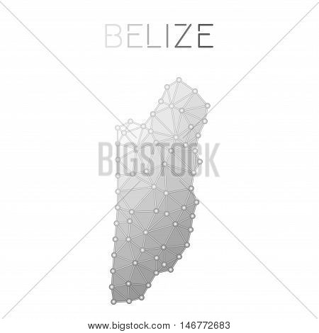 Belize Polygonal Vector Map. Molecular Structure Country Map Design. Network Connections Polygonal B