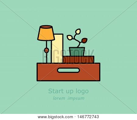 Office and moving vector logo. Illustration with box, parcel, table lamp and vases. Home repairs, order and cleaning theme. Start up logo.