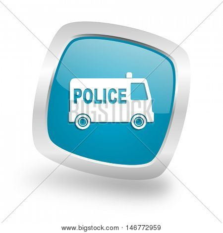 police square glossy chrome silver metallic web icon