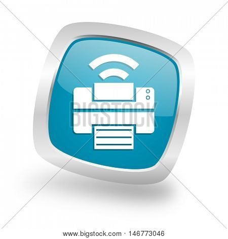 printer square glossy chrome silver metallic web icon