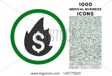 Business Fire Disaster rounded glyph bicolor icon with 1000 medical business icons. Set style is flat pictograms, green and gray colors, white background.