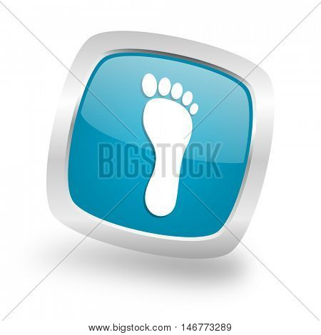 foot square glossy chrome silver metallic web icon