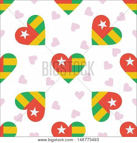 Togo Independence Day Seamless Pattern. Patriotic Background With Country National Flag In The Shape