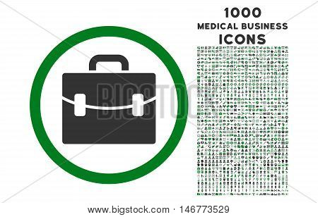 Case rounded glyph bicolor icon with 1000 medical business icons. Set style is flat pictograms, green and gray colors, white background.