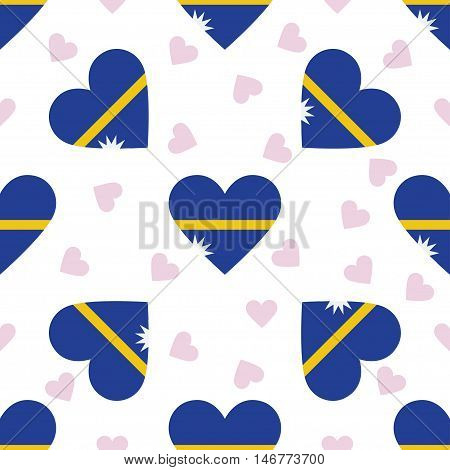 Nauru Independence Day Seamless Pattern. Patriotic Background With Country National Flag In The Shap