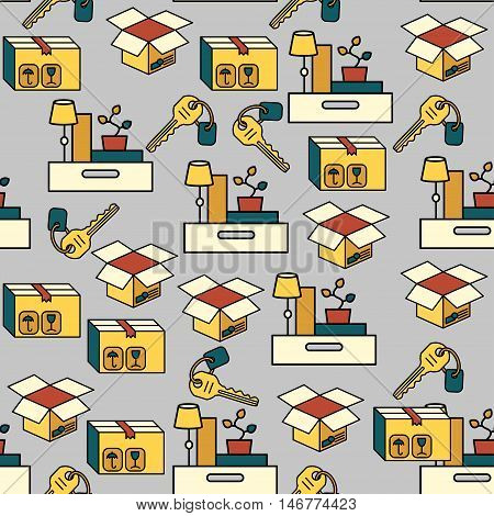Office and moving vector seamless pattern. Illustration with box, parcel, table lamp and vases. Home repairs, order and cleaning theme.