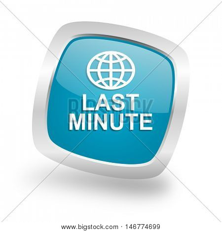 last minute square glossy chrome silver metallic web icon