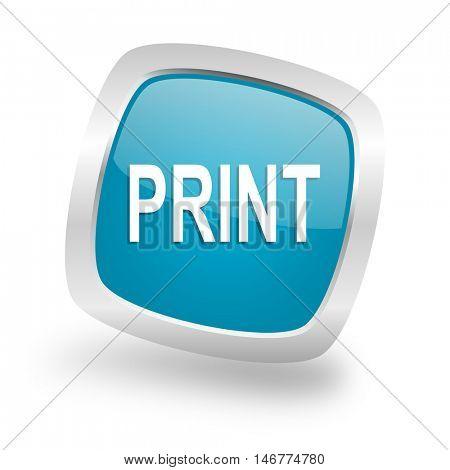 print square glossy chrome silver metallic web icon