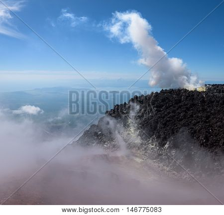 Fumarole between the lava in Avachinsky Volcano's crater, Kamchatka, Russia