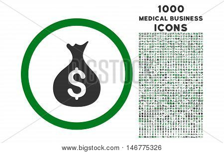 Money Sack rounded glyph bicolor icon with 1000 medical business icons. Set style is flat pictograms, green and gray colors, white background.