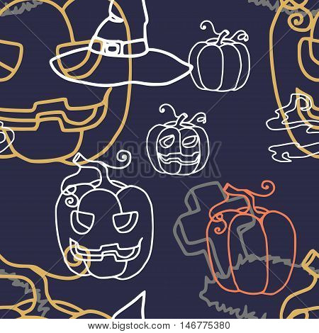 vector illustration seamless pattern pumpkin lantern glowing darkness of the tomb .tombstone potion boiler smoke hat terrible dark