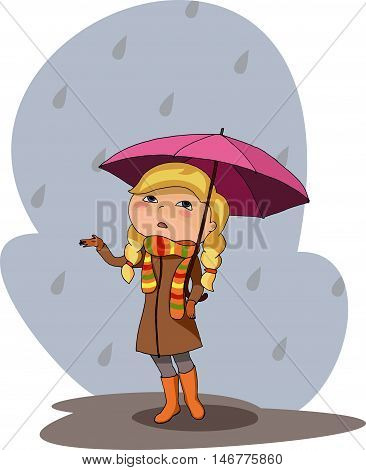 vector illustration of a girl under pink purple umbrella rainy gray day sad sad mood raindrops warm brown coat colorful scarf gloves orange boots