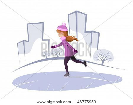 vector illustration of a girl in a coat and hat skating in the park frost on the silhouette of the trees houses winter cold sports holiday fun blue white.