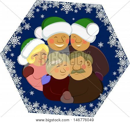 vector illustration Christmas family with hugs smile happy holiday snowflakes together portrait mother father son daughter parents