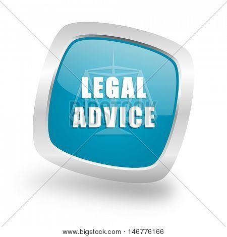 legal advice square glossy chrome silver metallic web icon