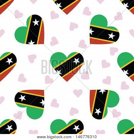 Saint Kitts And Nevis Independence Day Seamless Pattern. Patriotic Background With Country National