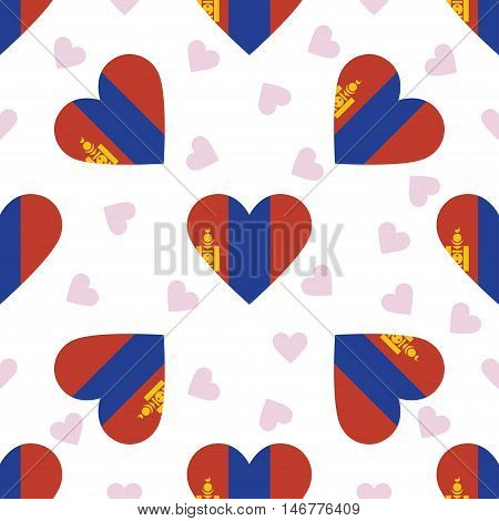 Mongolia Independence Day Seamless Pattern. Patriotic Background With Country National Flag In The S