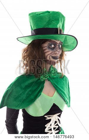 Portrait Of A Leprechaun Girl, Isolated On White
