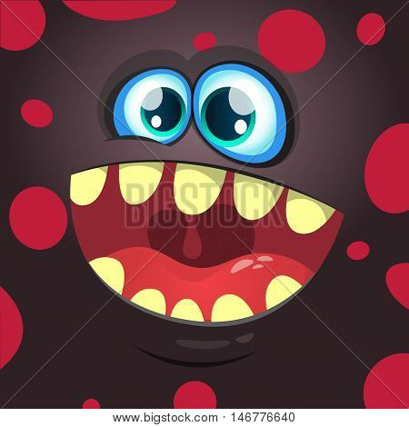 Cartoon monster face. Vector Halloween black monster avatar with wide smile