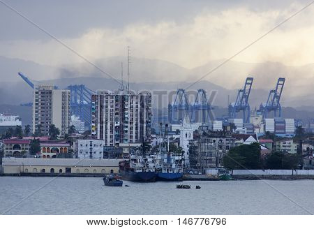 Port city skyline of Colon in early morning (Panama).