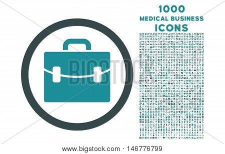 Case rounded glyph bicolor icon with 1000 medical business icons. Set style is flat pictograms, soft blue colors, white background.
