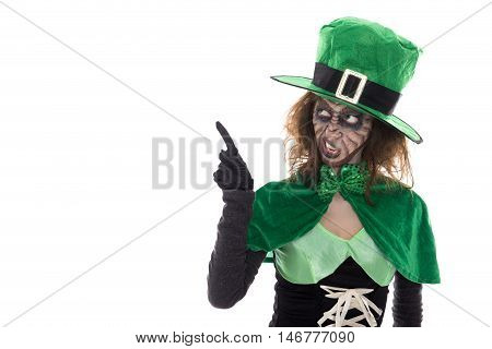 Green Leprechaun Girl Showing On Copyspace, Isolated On White