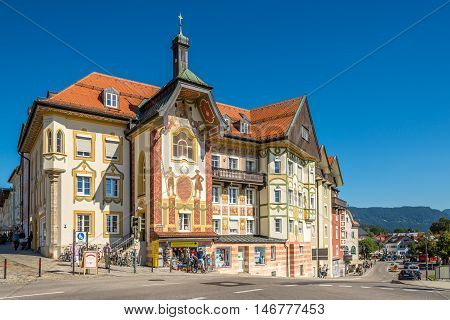 BAD TOLZ ,GERMANY - AUGUST 25,2016 - Marienstift in Bad Tolz.Bad Tolz is known for its spas historic medieval town and spectacular views of the Alps.