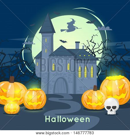 Happy halloween poster, banner, fly-er. Castle with pumpkins and a witch. Black on white. Lettering. Halloween party. Flat design vector illustration.