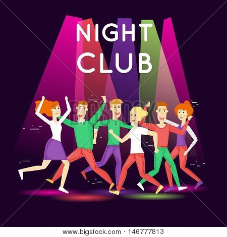 Night club, parties. People having fun in a club. Character. Flat style. Poster.