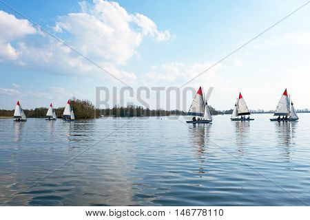 Sailing on the Loosdrechtse Plassen in the Netherlands