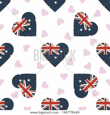 Australia Independence Day Seamless Pattern. Patriotic Background With Country National Flag In The