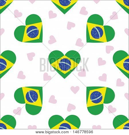 Brazil Independence Day Seamless Pattern. Patriotic Background With Country National Flag In The Sha
