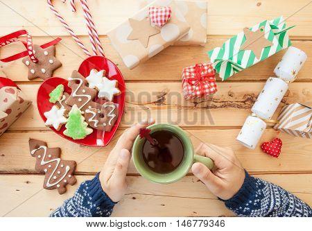 Christmas cookies and drinking tea christmas time