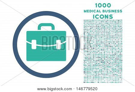 Case rounded glyph bicolor icon with 1000 medical business icons. Set style is flat pictograms, cobalt and cyan colors, white background.