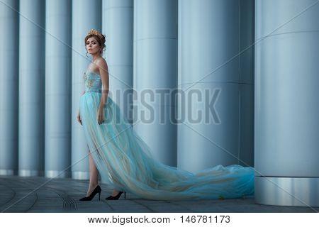 Queen in a long luxuriant dress standing among columns.