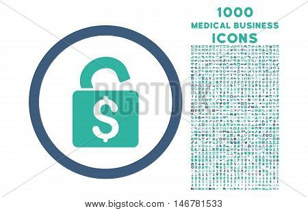 Unlock Banking Lock rounded glyph bicolor icon with 1000 medical business icons. Set style is flat pictograms, cobalt and cyan colors, white background.