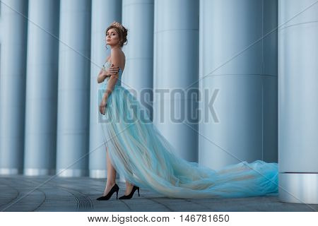 Queen with a crown and a long luxuriant dress walks among the columns.