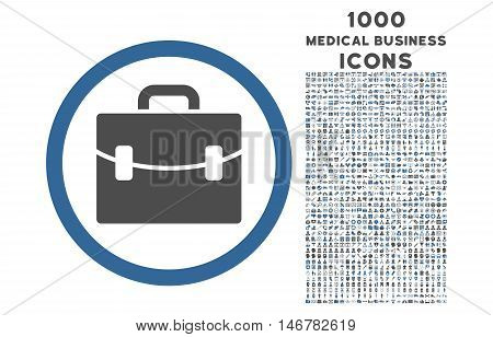 Case rounded glyph bicolor icon with 1000 medical business icons. Set style is flat pictograms, cobalt and gray colors, white background.