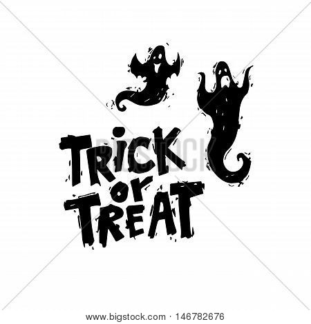 Happy halloween poster, banner, fly-er. Ghosts. Black on white. Lettering. Halloween party. Flat design vector illustration.