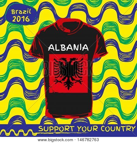 Hand drawn vector. vector pattern with t-shirt with country flag. Support your country. National flag. Albania
