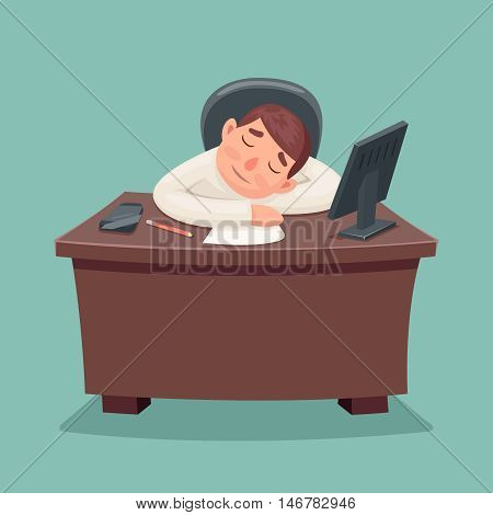 Sleep businessman tired fell asleep on the desktop cartoon design vector illustration