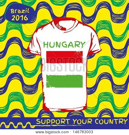 Hand drawn vector. vector pattern with t-shirt with country flag. Support your country.National flag. Hungary